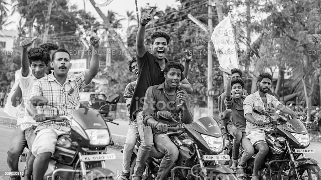 Young protesters on motorcycles in Trivandrum stock photo
