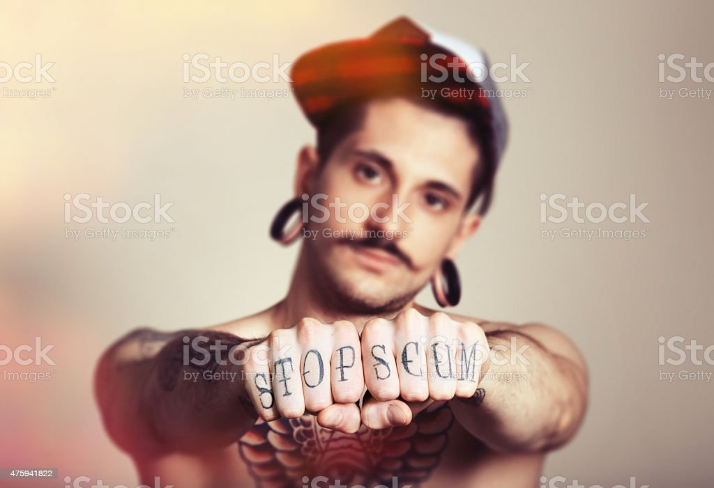 young provocative guy stock photo