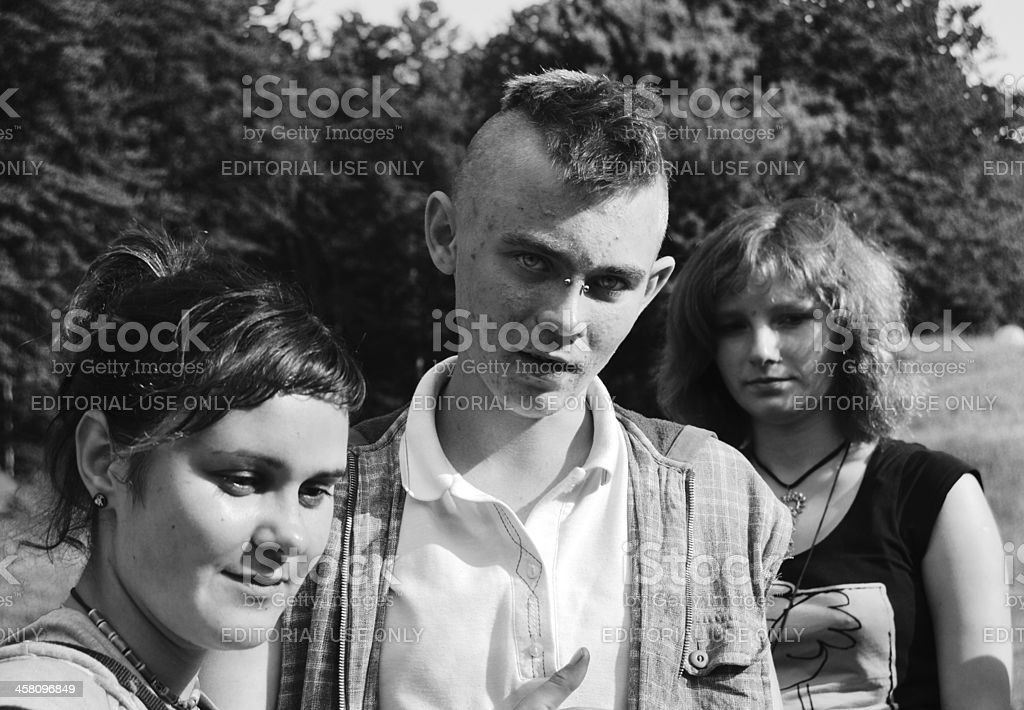 young punk and his girlfriend stock photo