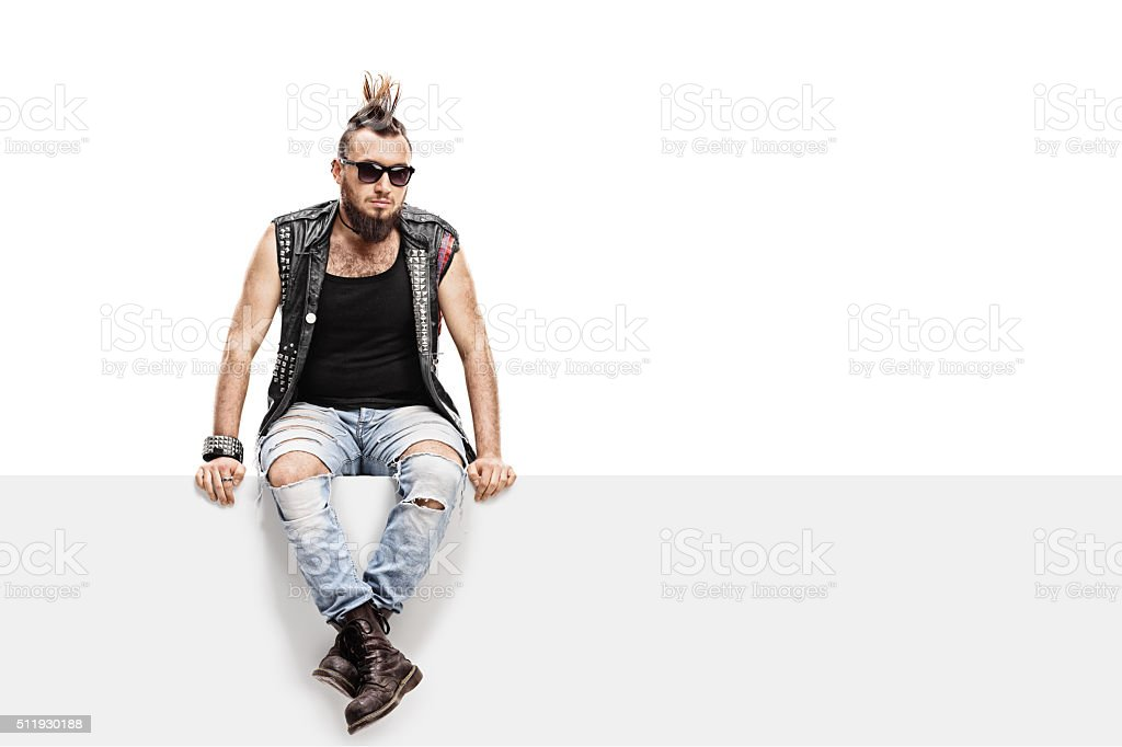 Young punk rocker with a Mohawk hairstyle stock photo