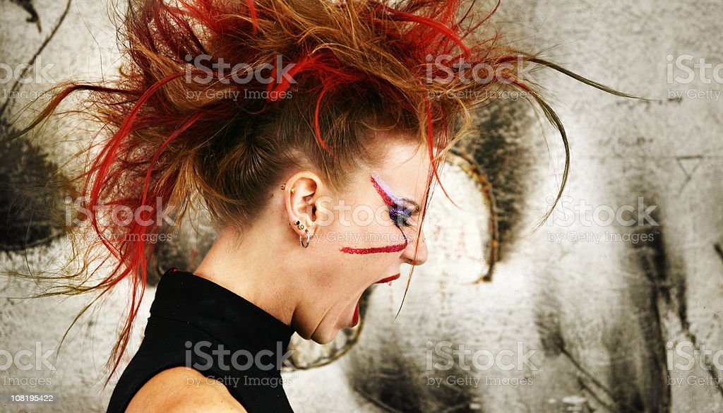 Young Punk Woman Yelling royalty-free stock photo