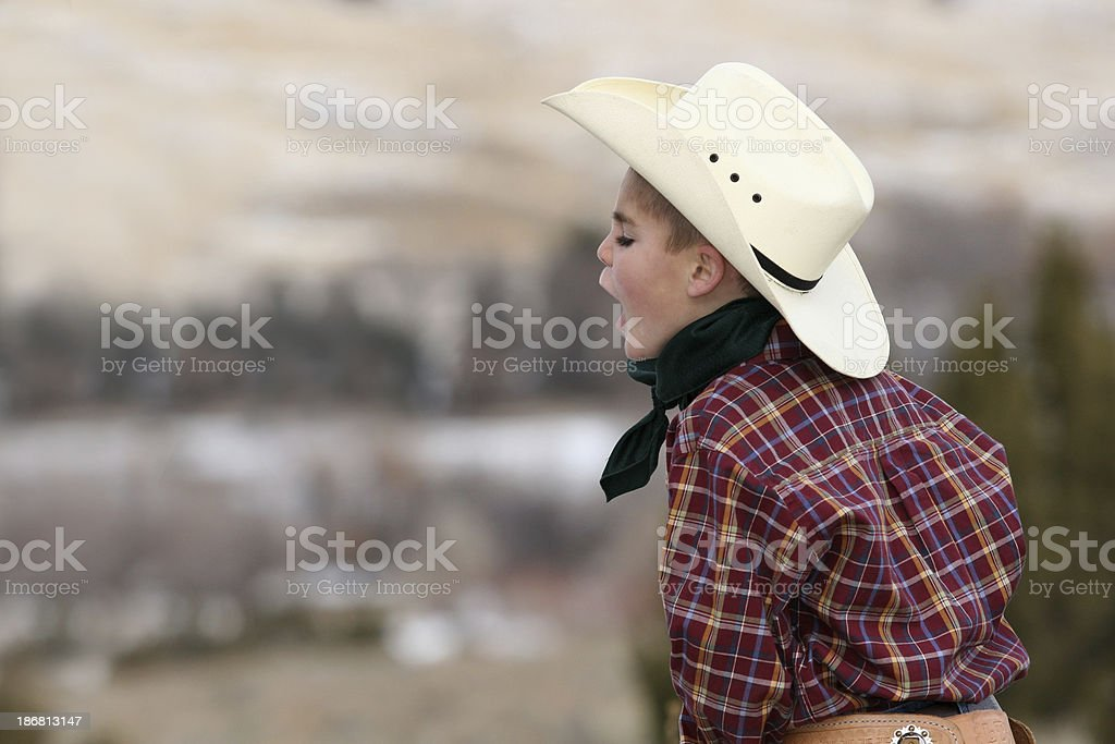 Young Rancher yelling royalty-free stock photo