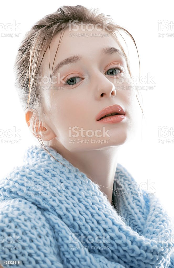 young real blond woman in scarf stock photo