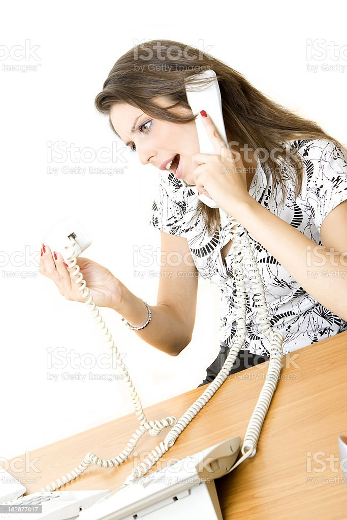 Young receptionist on the phone stock photo