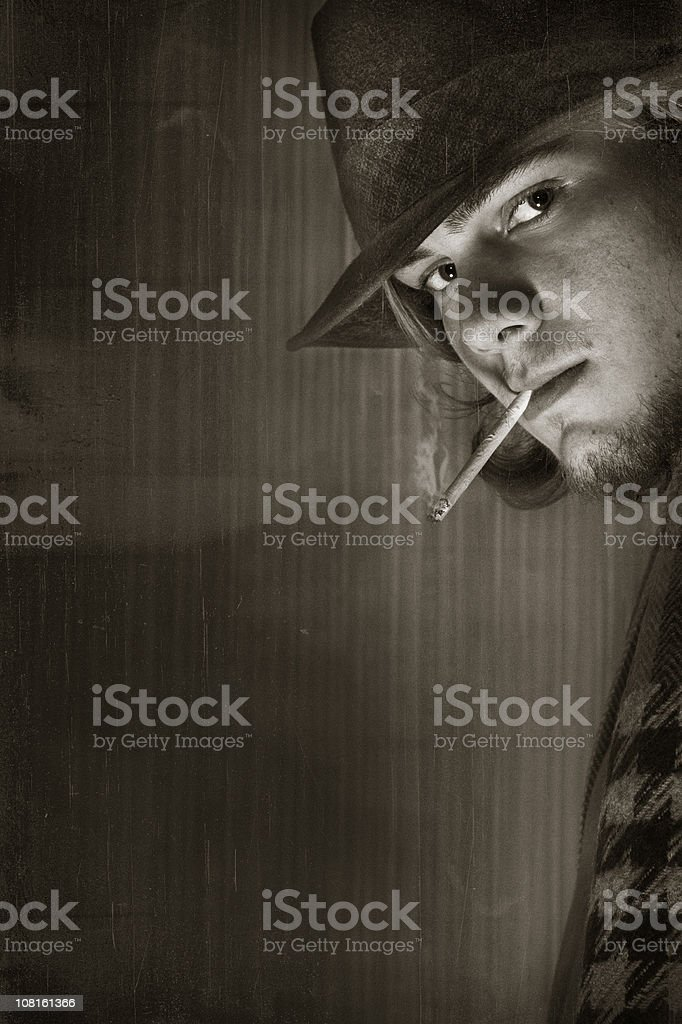 young retro man - complete vintage stock photo