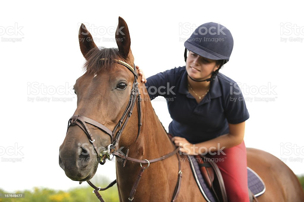 Young rider on her horse with white background, Norway stock photo