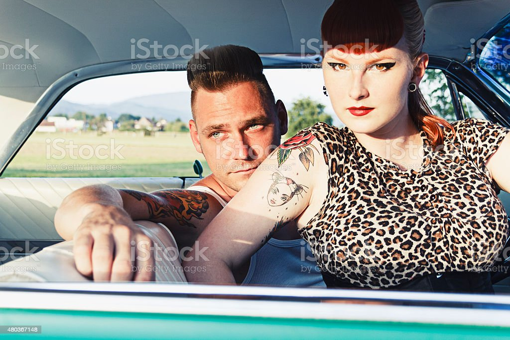Young rockabilly couple stock photo
