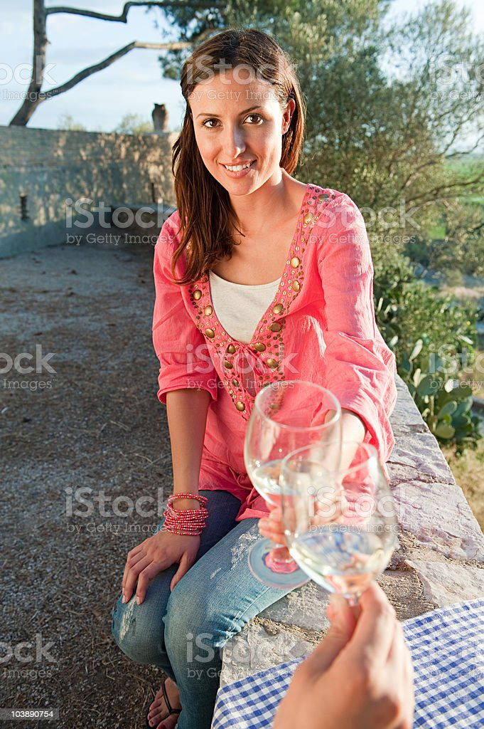 Young romantic couple with wine royalty-free stock photo