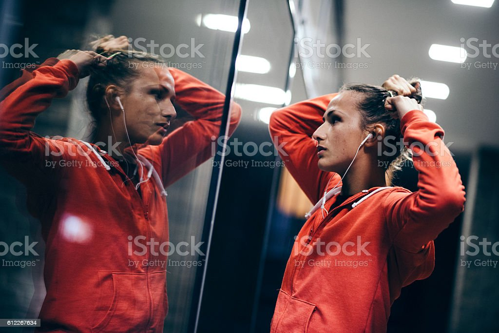 Young runner preparing for exercise stock photo