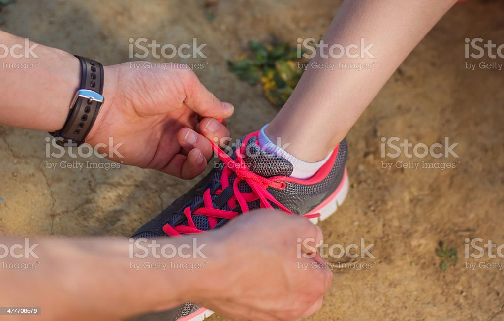 Young runners outside stock photo