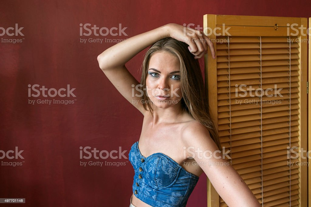 Young russian woman posing at studio in istanbul turkey stock photo
