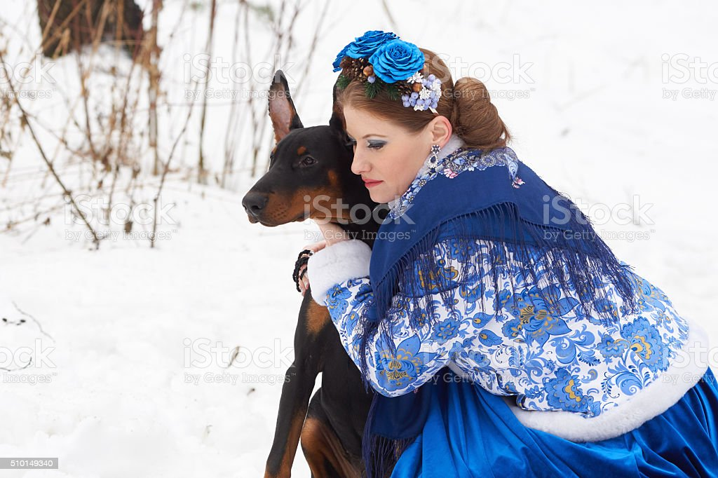 Young russian woman with dog stock photo