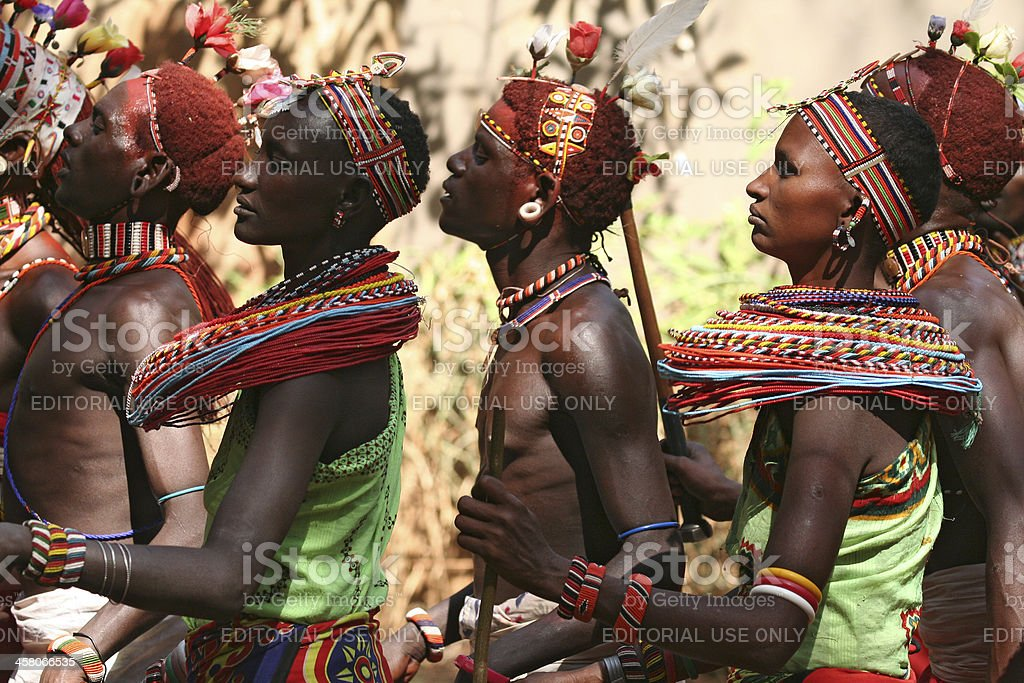Young Samburu tribal dancers at a tourist lodge, Kenya stock photo