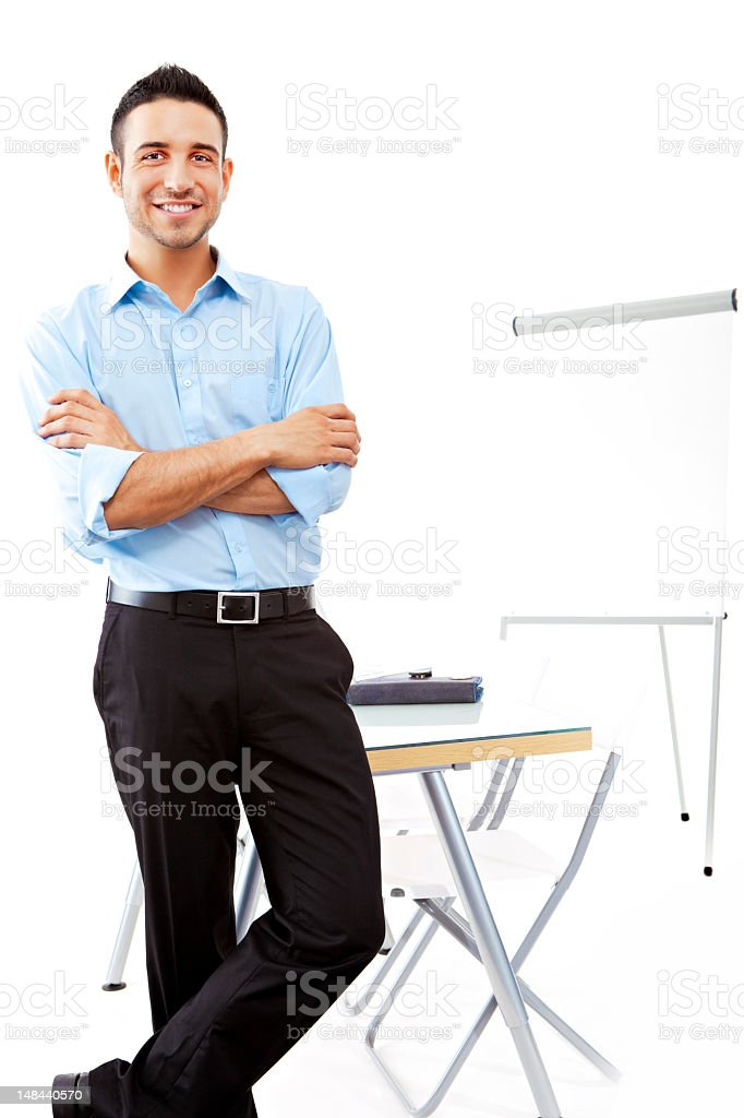 Young satisfied businessman royalty-free stock photo