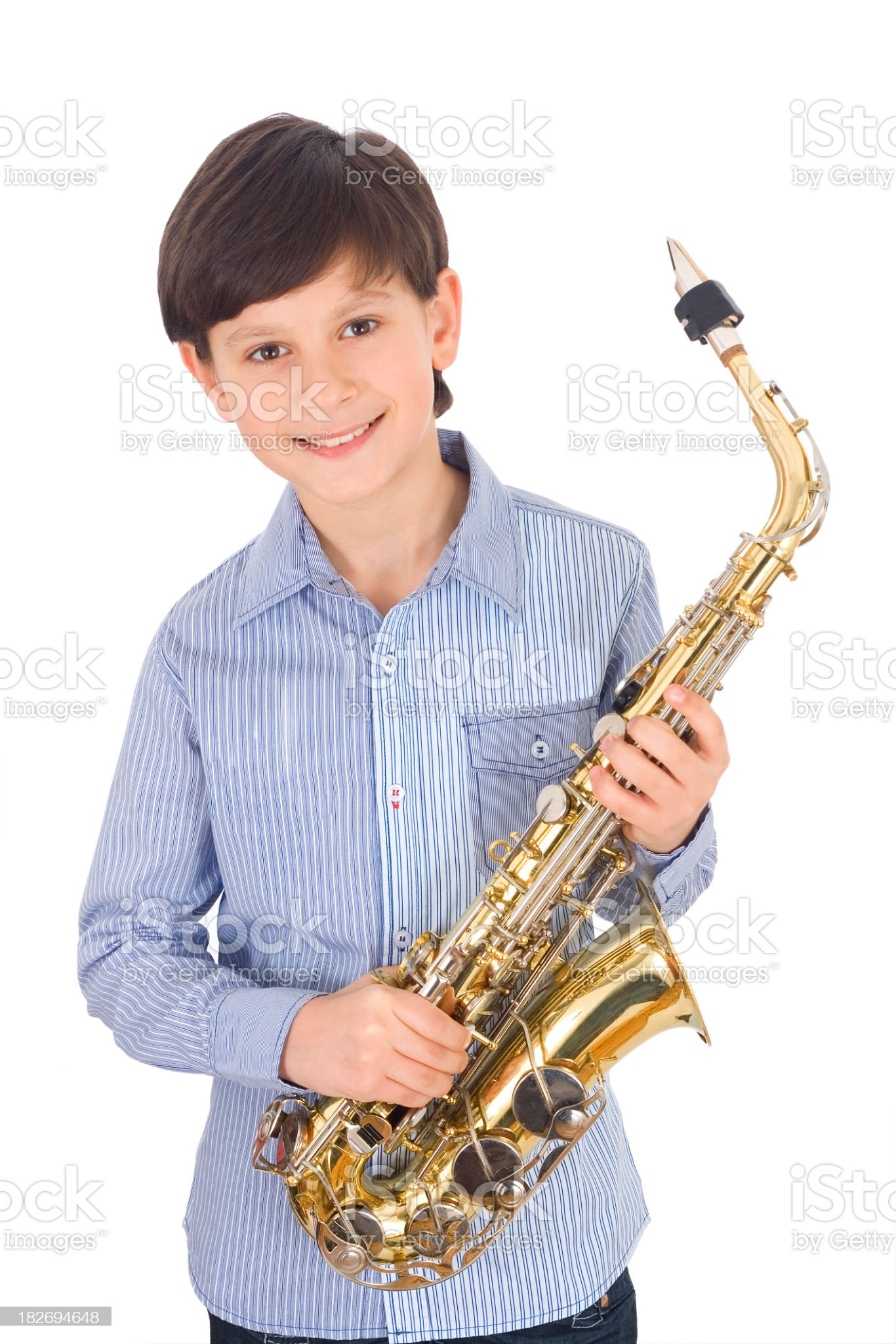 Young sax player royalty-free stock photo