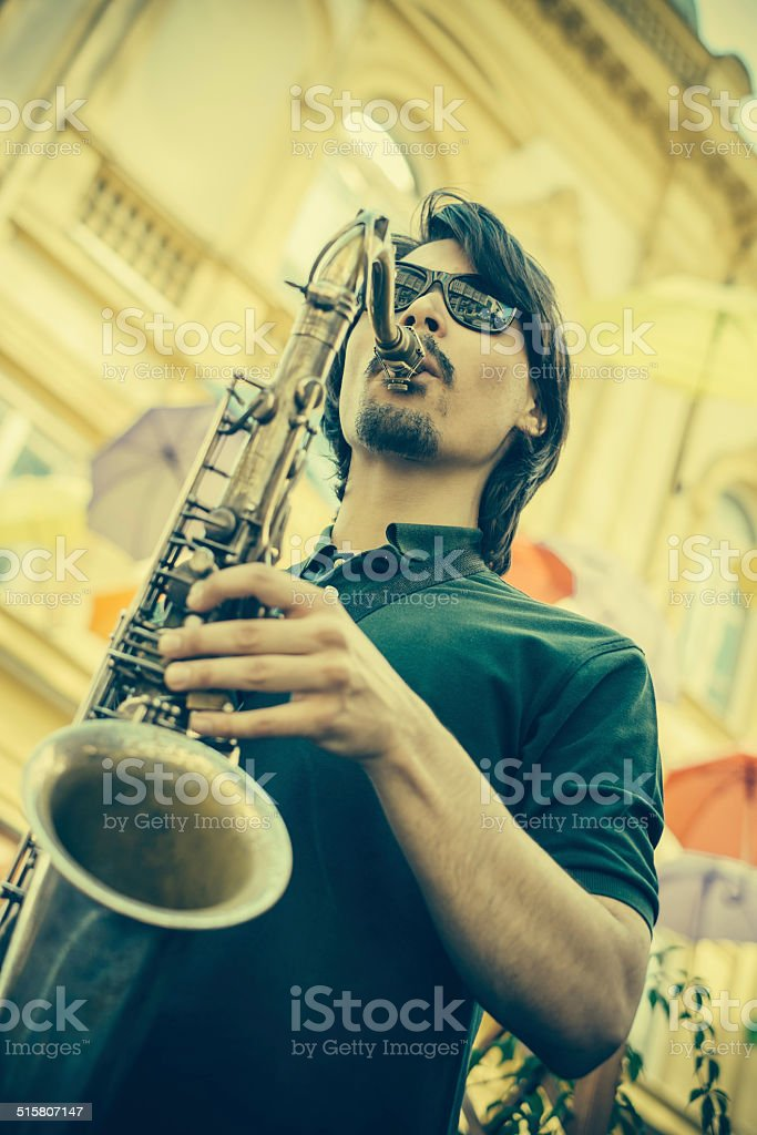 Young Sax player stock photo