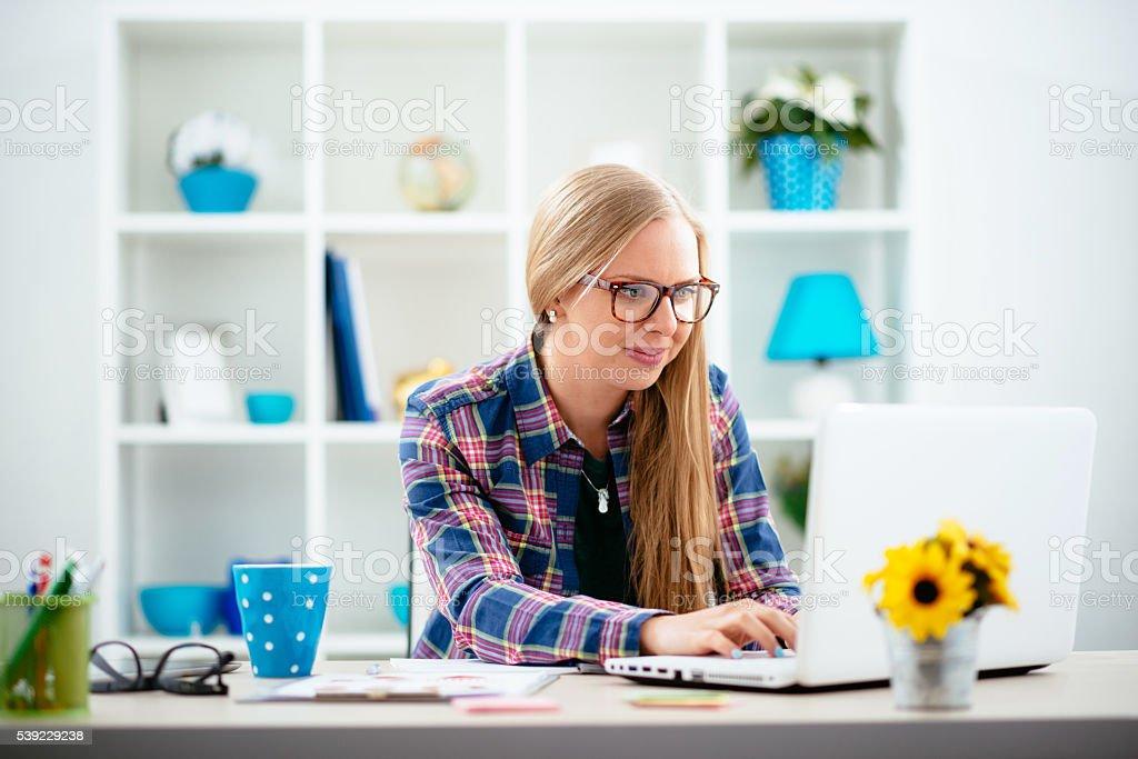 Young Scandinavian businesswoman applying for start-up funding stock photo