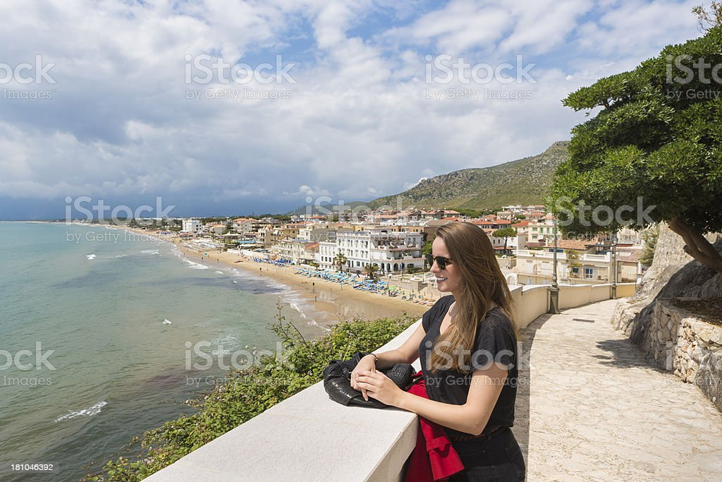 Young Scandinavian tourist in Sperlonga, Lazio Italy royalty-free stock photo