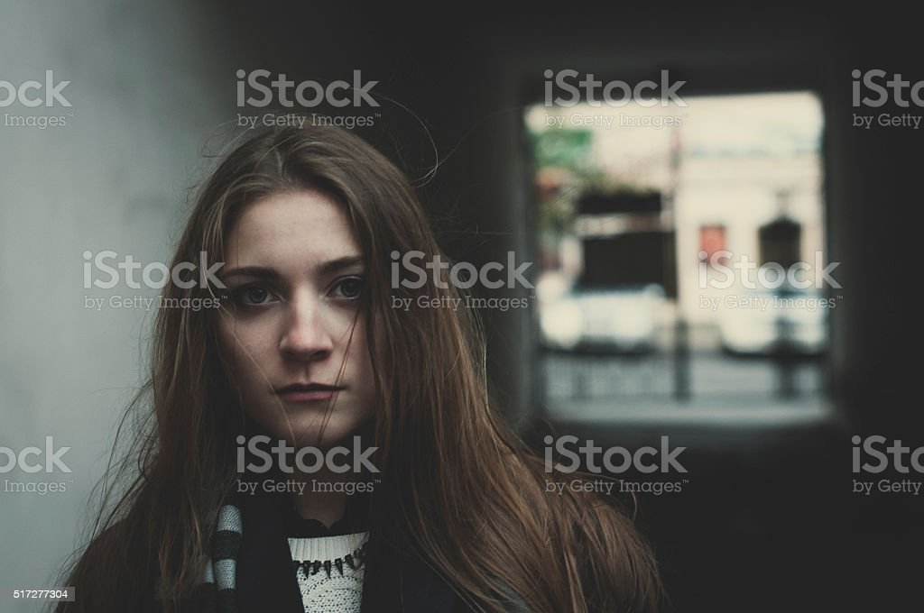 Young scared girl stock photo