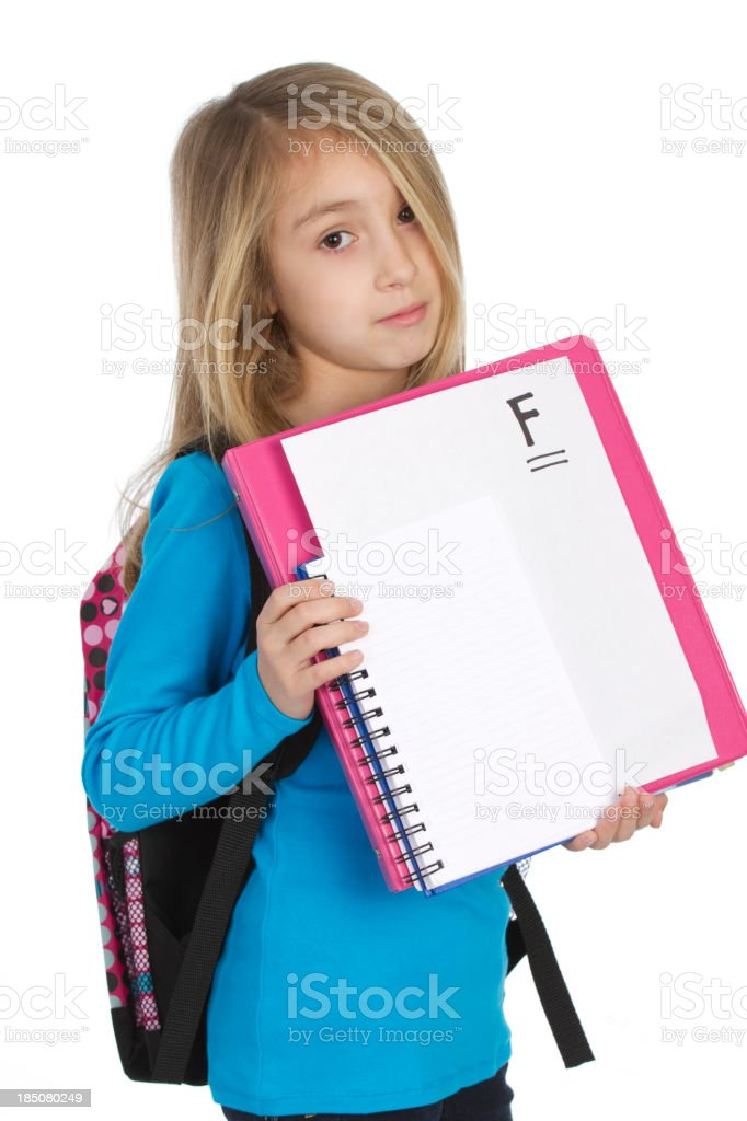 young school girl with F grade royalty-free stock photo