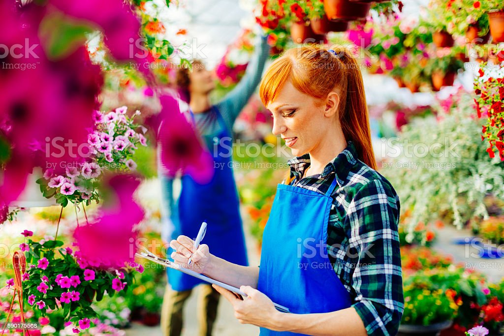 Young science intern examines flowers in plant nursery stock photo