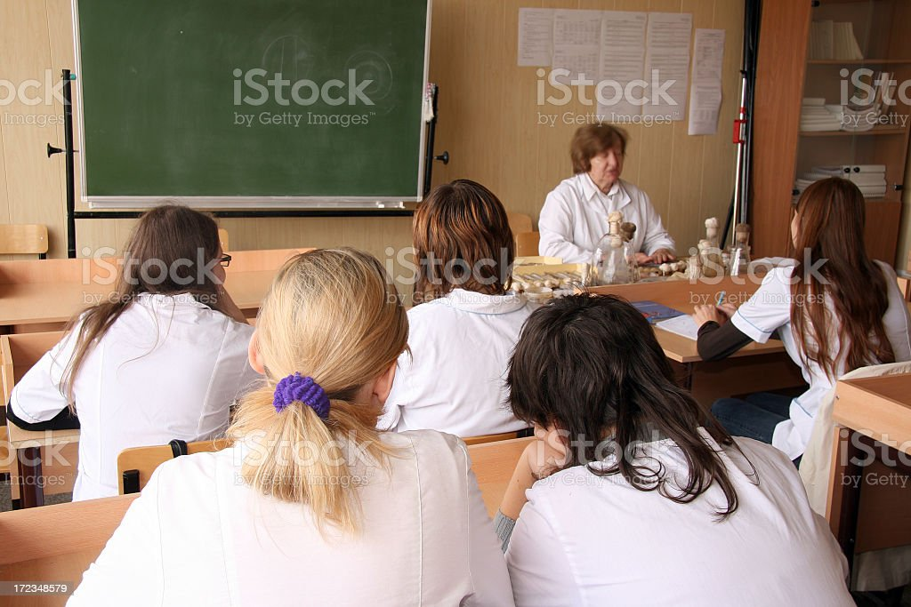 Young science student at a lecture stock photo