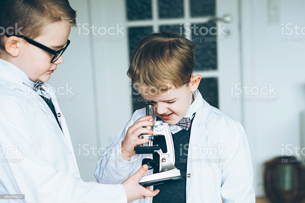 Young scientists make teamwork in a lab stock photo