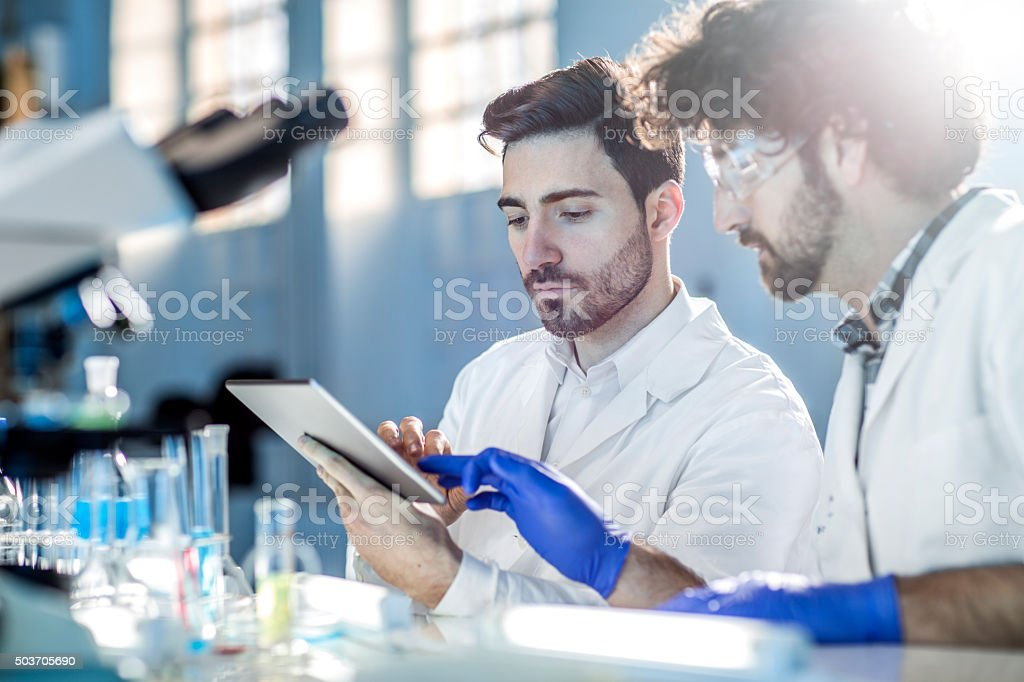 Young scientists works in modern laboratory stock photo
