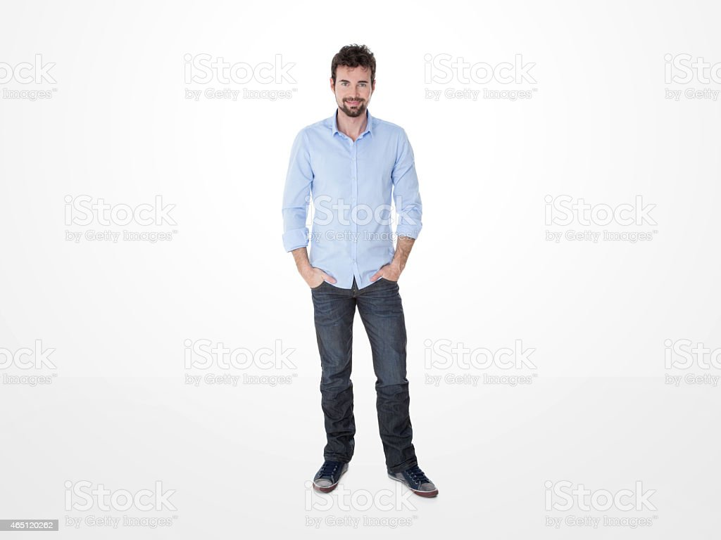 young self-confident guy smile stock photo