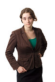 young serious business woman on white background