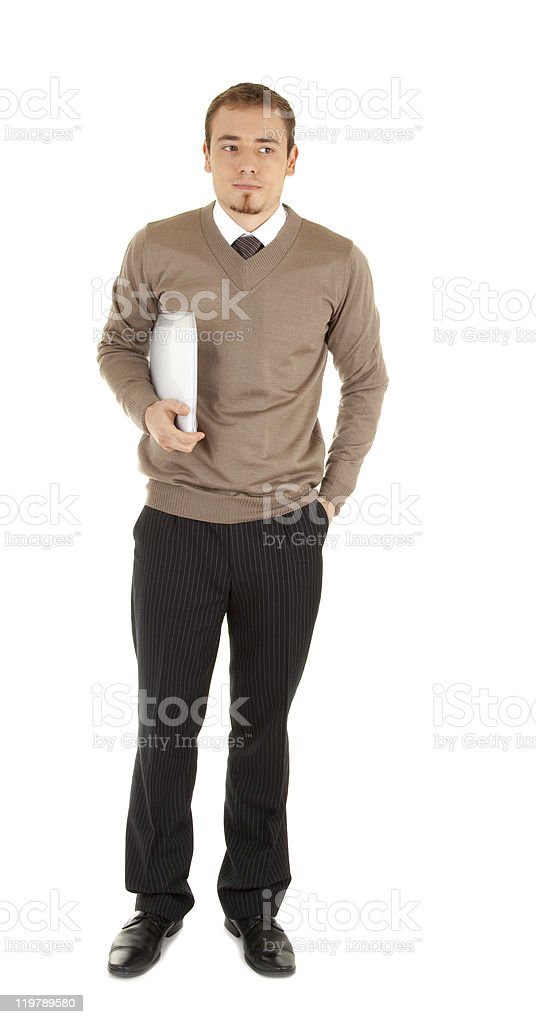 Young serious men with documents royalty-free stock photo