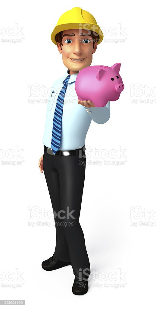 Young Service Man with piggy bank stock photo