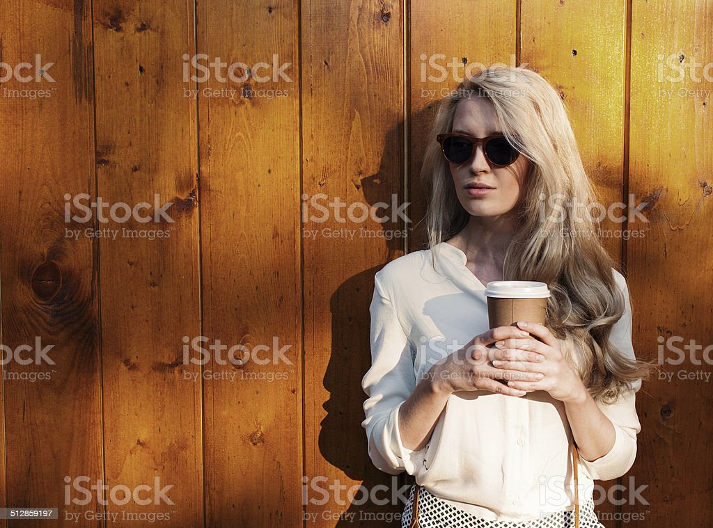Young sexy blonde girl with long hair in sunglasses stock photo