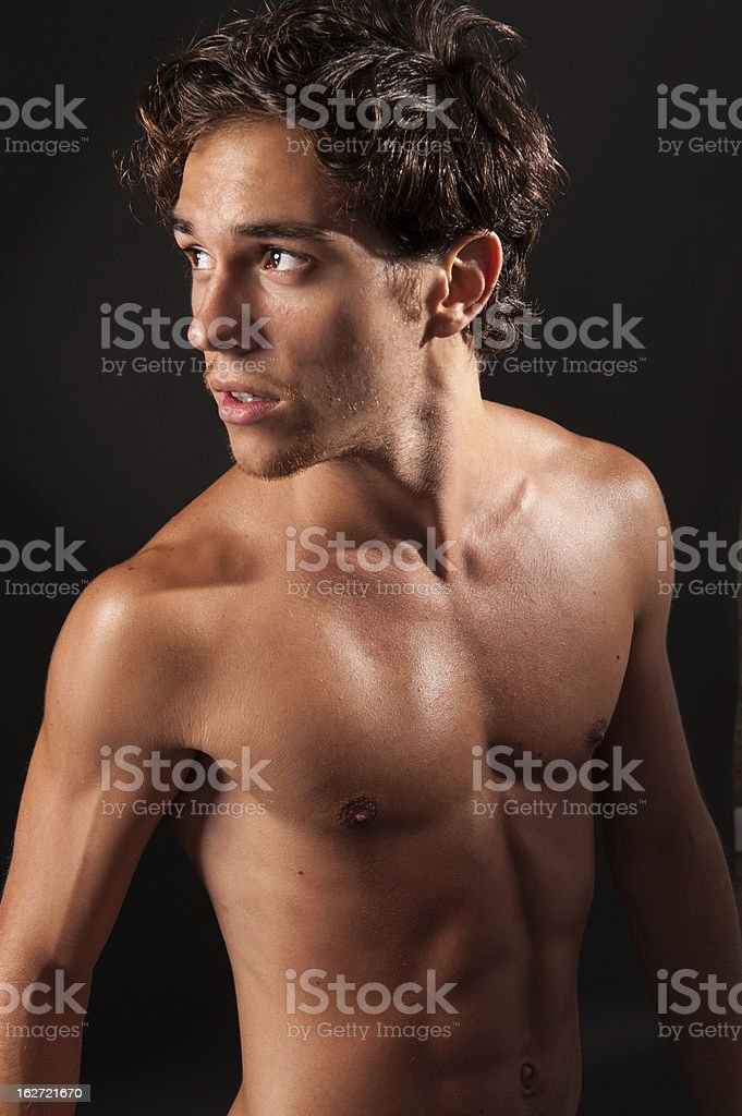 young sexy male adult with naked torso royalty-free stock photo