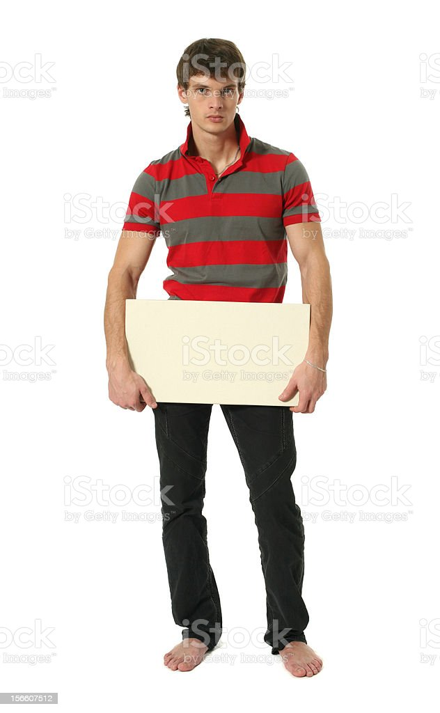 Young Sexy Man with Copy Space Blank Sign royalty-free stock photo