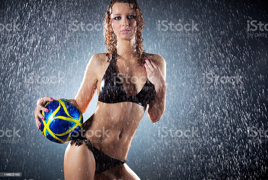 Young sexy woman football player royalty-free stock photo