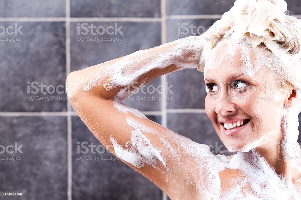 young sexy woman having a shower royalty-free stock photo