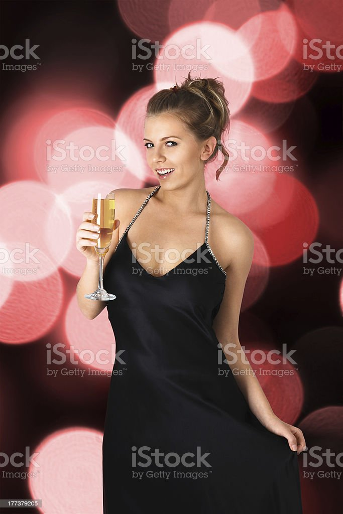 Young sexy woman with champagne royalty-free stock photo