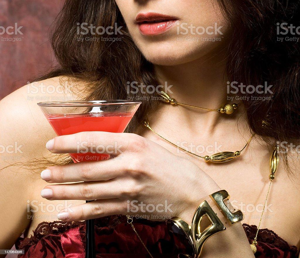 Jovem sexy mulher com Copo de Vinho foto de stock royalty-free
