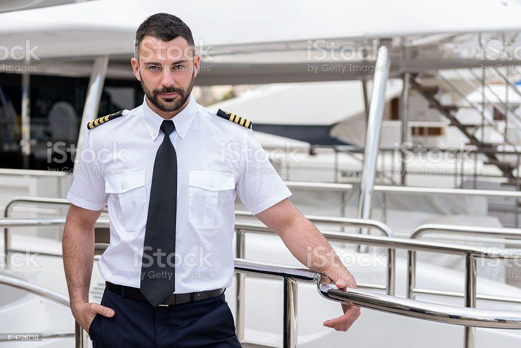 Young ship captain stock photo
