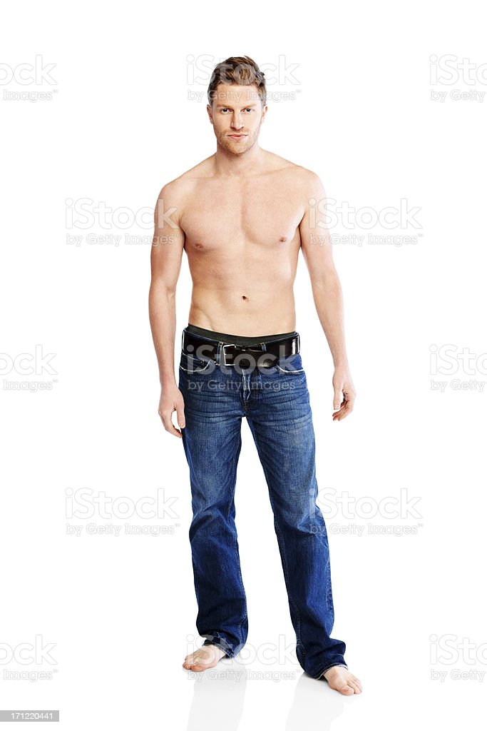 Young shirtless muscular man isolated on white stock photo