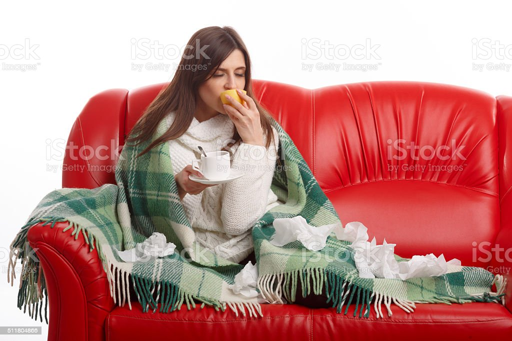 Young sick woman stock photo