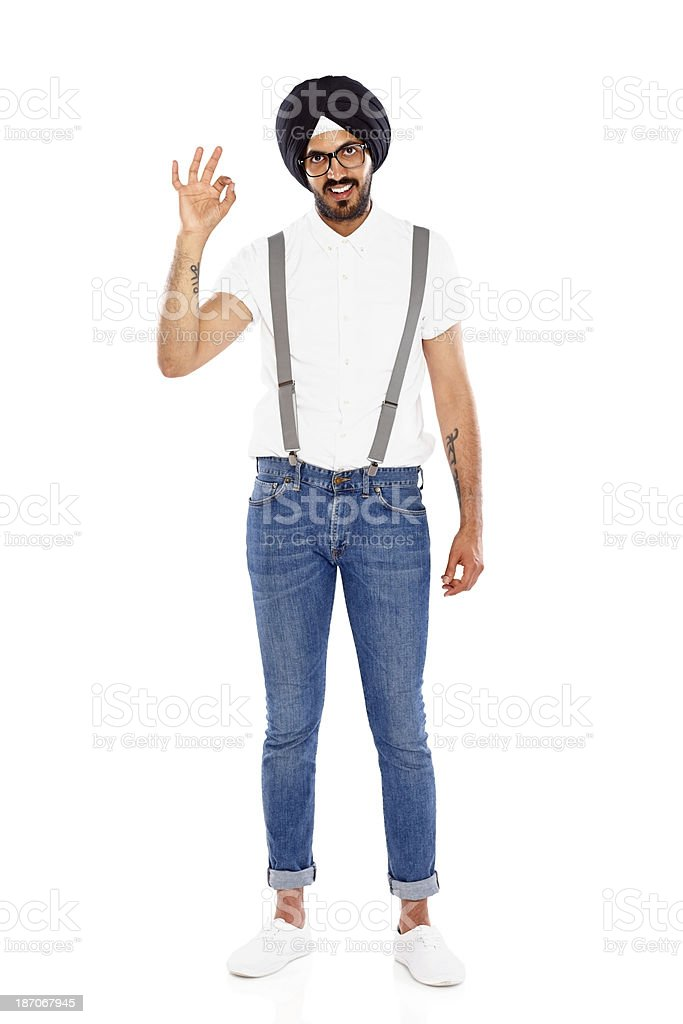 Young sikh man gesturing ok sign royalty-free stock photo