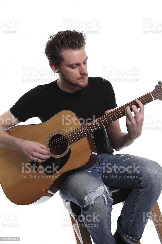 Young singer songwriter stock photo