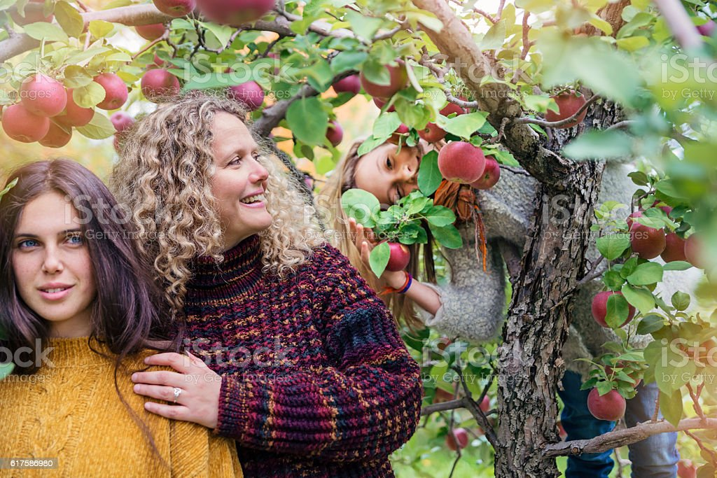Young sister bombing mother and daughter portrait in orchard. stock photo