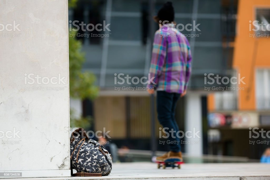 Young skateboard in the city stock photo