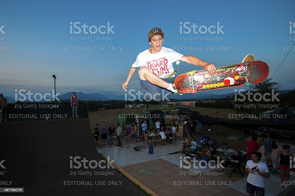 Young skater on ramp stock photo