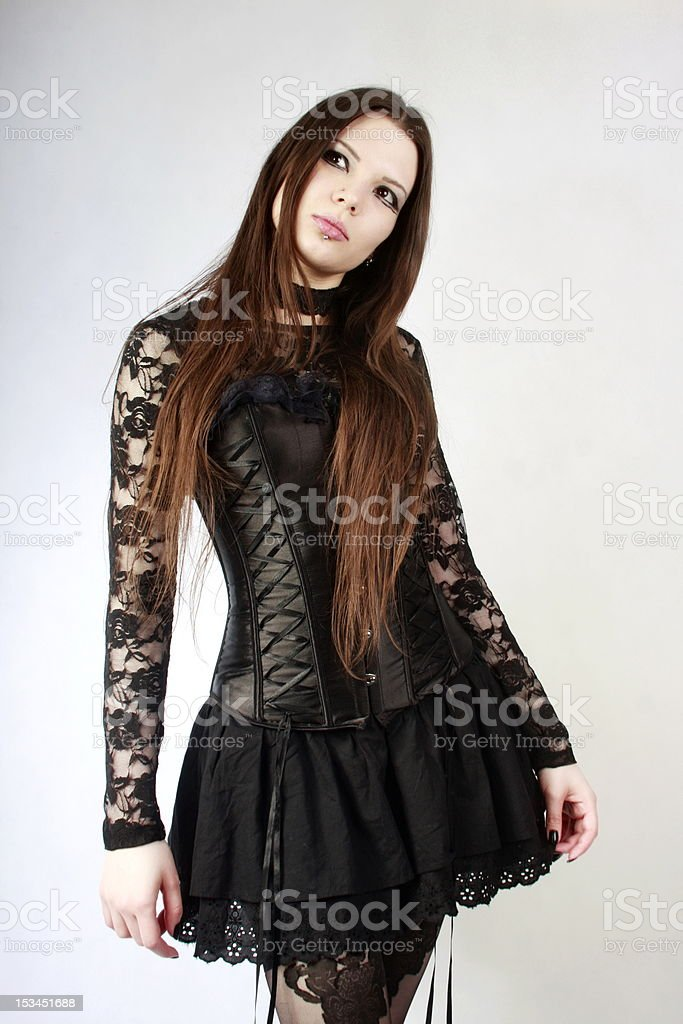 Young slim goth girl royalty-free stock photo