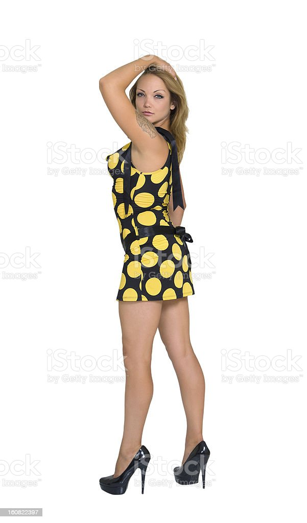 Young slim woman in mini-dress royalty-free stock photo