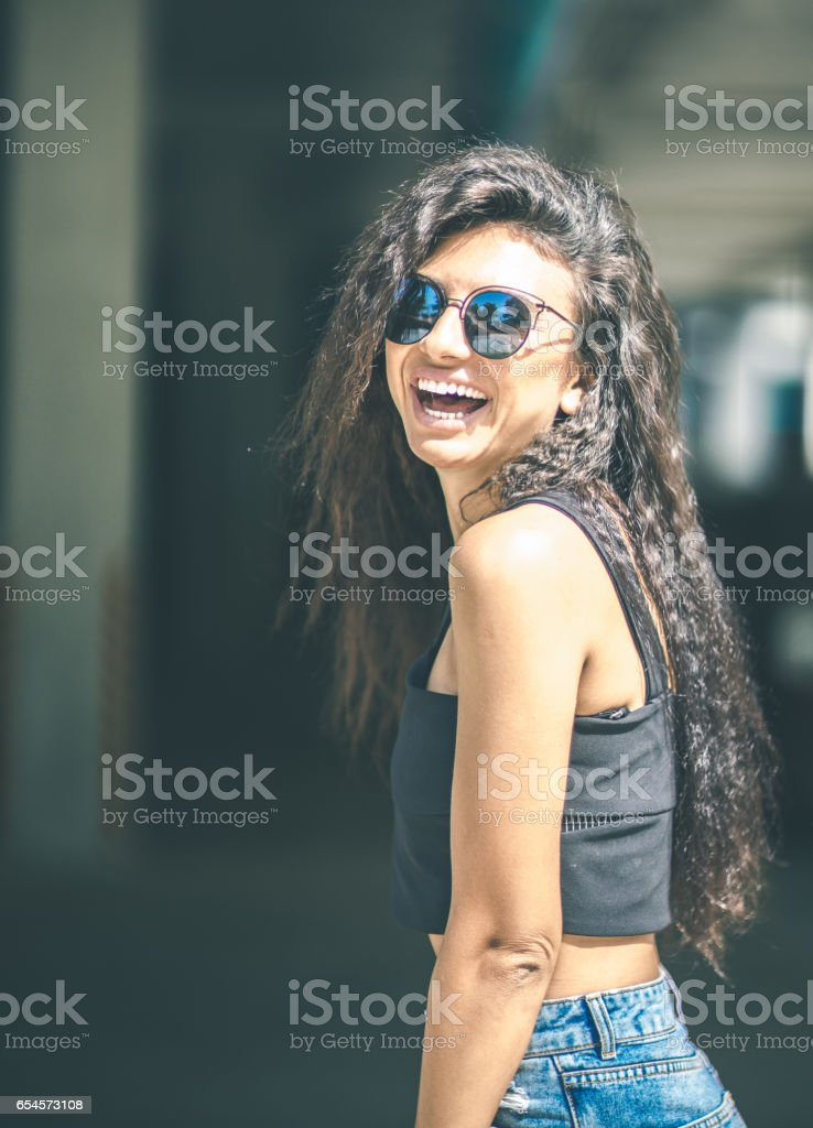 Young smile woman on the parking stock photo